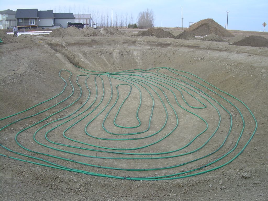 Geothermal for new residential build east of Lethbridge - Pond loop